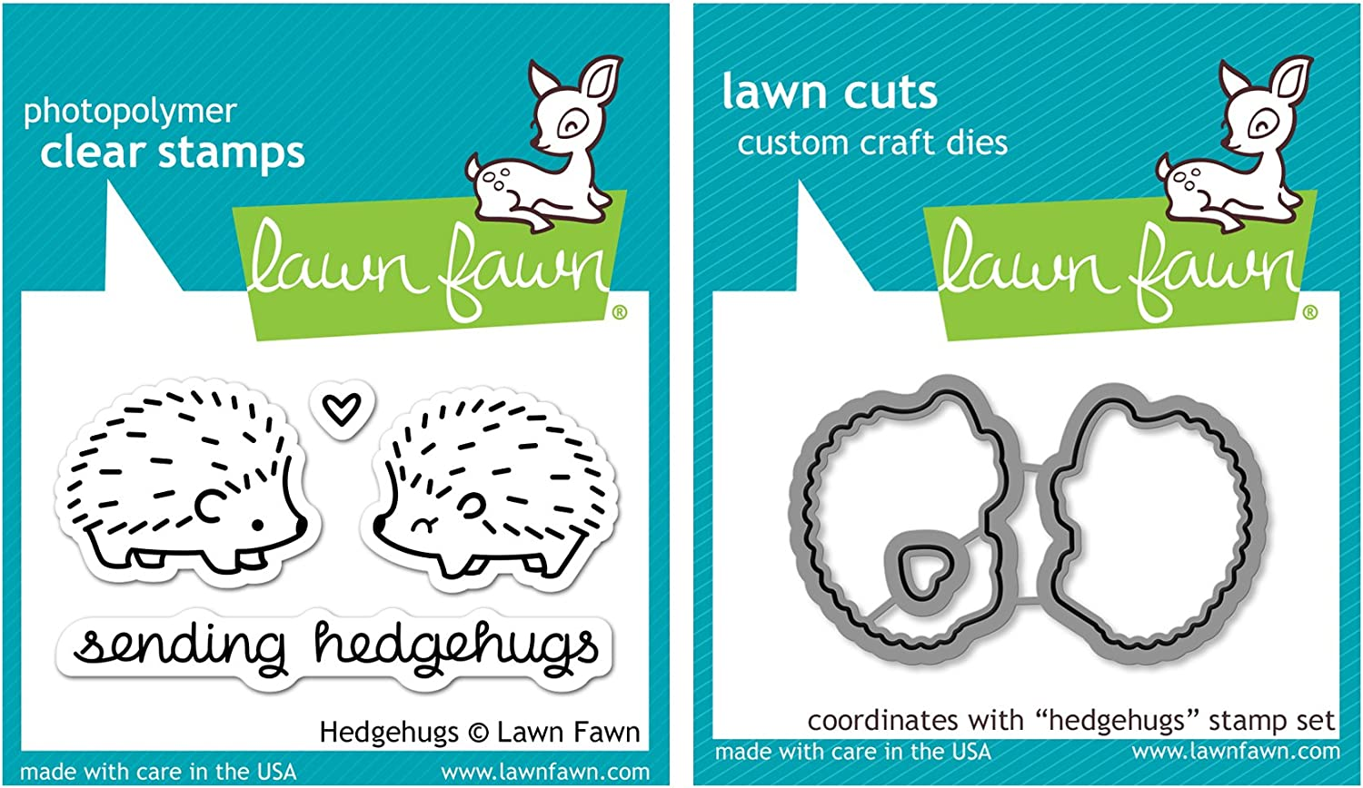 "Lawn Fawn""Hedgehugs"" Clear Stamp and Die Set"