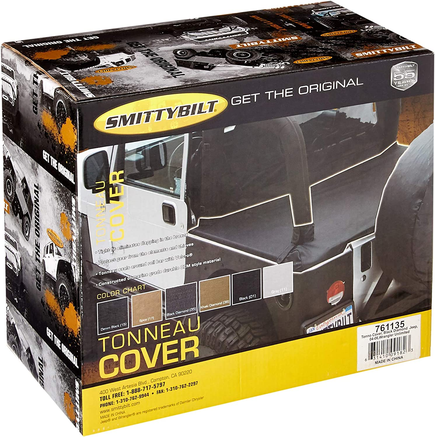 Smittybilt Tonneau Cover Black Diamond For 04-06 Jeep Wrangler LJ Unlimited