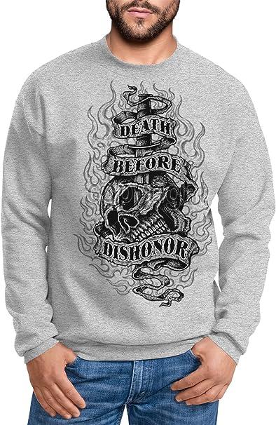 MoonWorks Sweatshirt Herren Death Before Dishonor Totenkopf