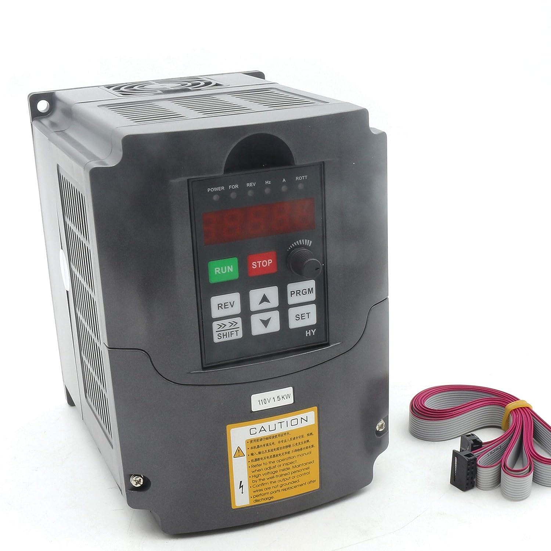 1.5KW インバータ HY 110V VFD 周波数変換器 スピードコントロール 可変周波数ドライブ 13A 400Hz 1HP入力3HP出力 延長するケーブル付き B07HQ53NGS