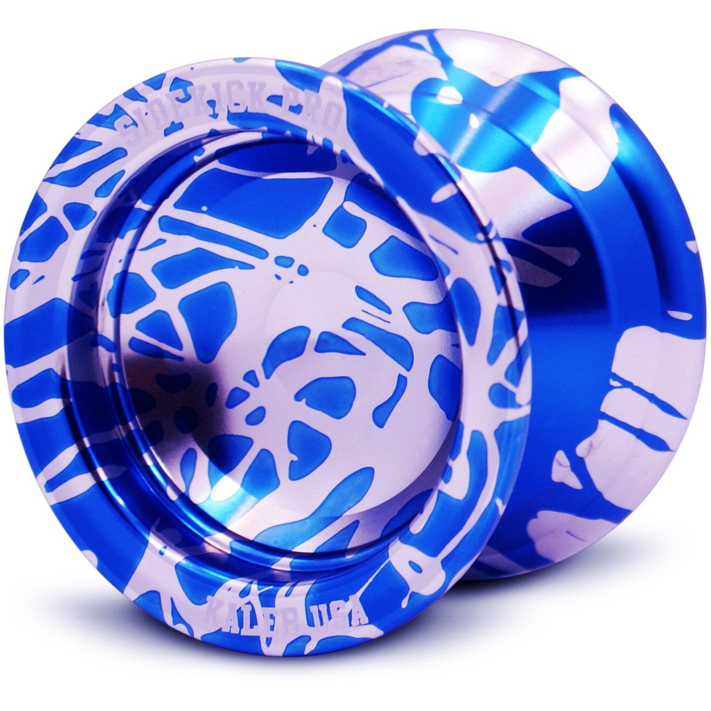 Sidekick Yoyo Pro Silver & Blue Reverse Splashes REsponsive Professional Yo-Yo