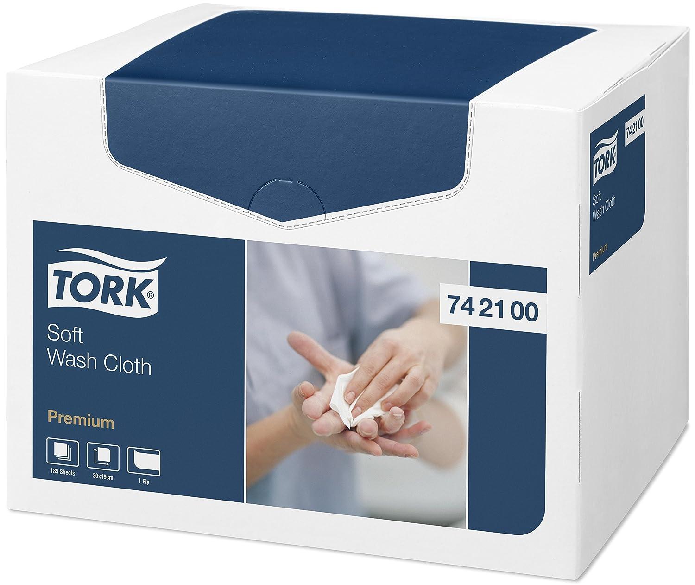 Tork 742100 - Pack de 135 paños para lavado, franelas extra suaves de 1 capa, 19.2 x 30 cm, color blanco