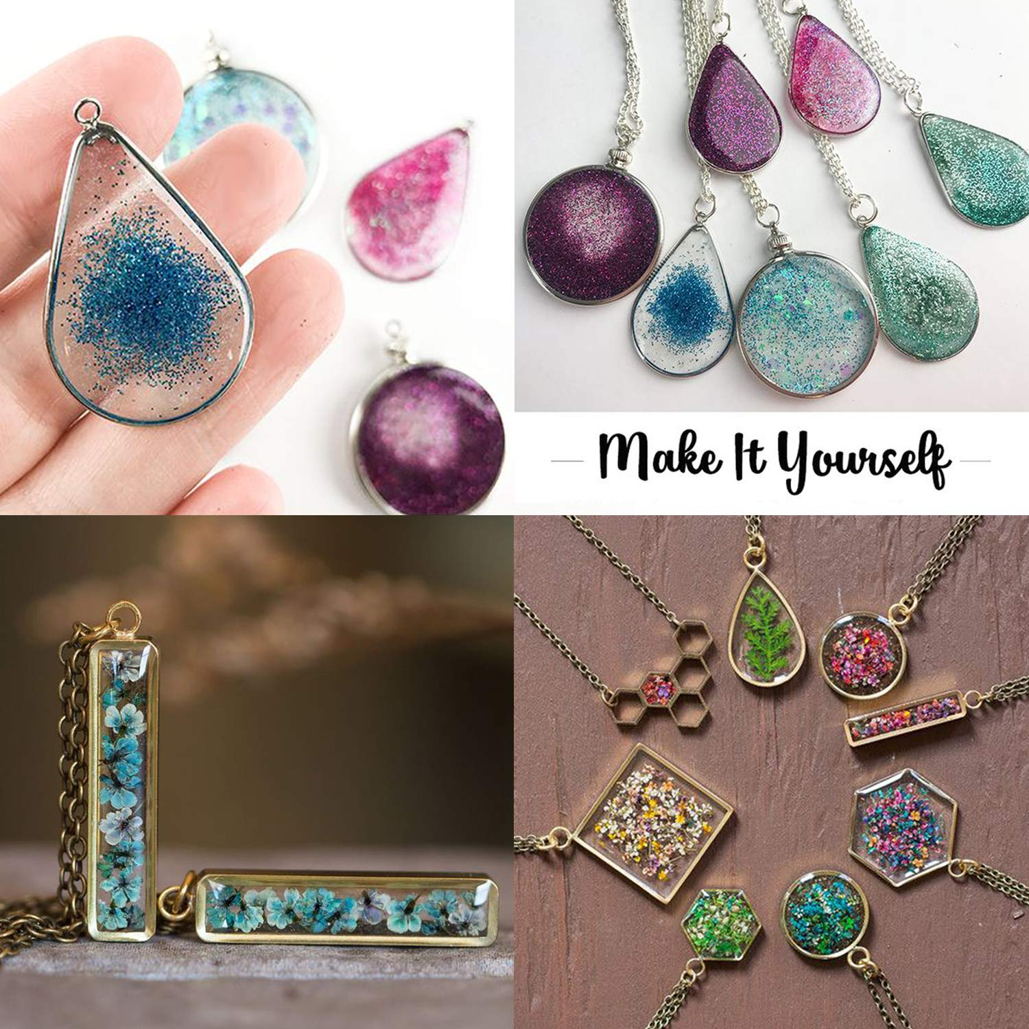 Resin Earrings Necklace Bracelet 40PCS Open Bezel Frame Pendants with Tape LET/'S Resin Charm Pendants Crafts DIY Pressed Flower Frame Pendant for Resin Jewelry