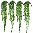CEWOR 4pcs Artificial Succulents Hanging Plants Fake String of Pearls (40cm Each Length)
