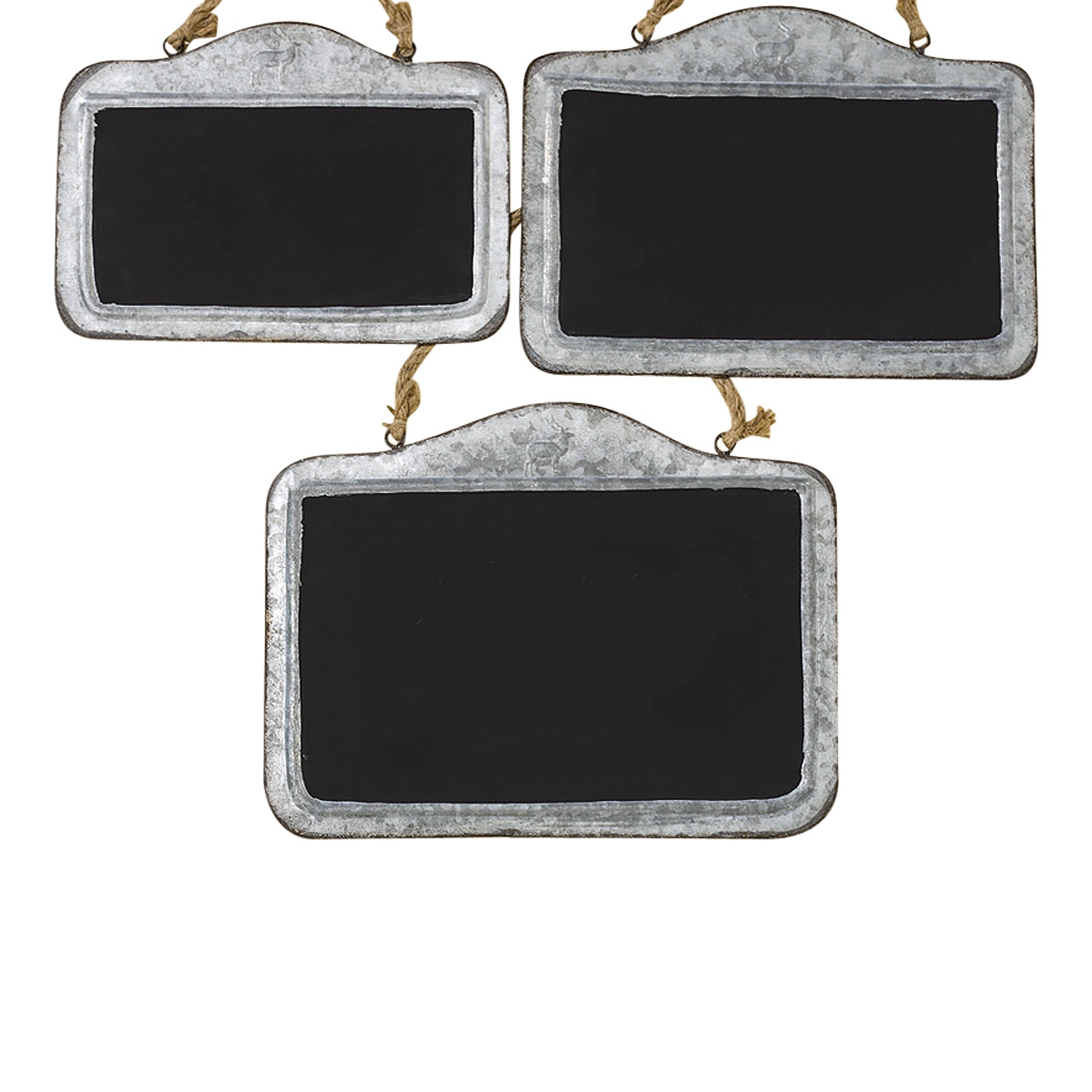 Whole House Worlds The Farmers Market Crested Deer Chalkboards, Set of 3, Galvanized Weathered Metal Frame, Knotted Twine Hanger, 12,13, and 15 4/5 Long Inches