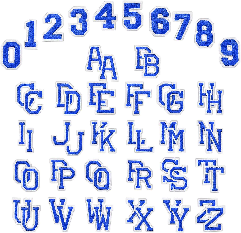 n/úmeros Divertidos 0-9 A-Z Bricolaje Bordado Ropa Parches Coser en Hierro en para la Camiseta Jeans Ropa Bolsa Azul Claro WD/&CD 62 Piezas Parche Ropa Bordado