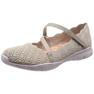 Skechers Women's Seager-Strike Out-Scalloped Engineered Knit Mary Jane Flat | Flats