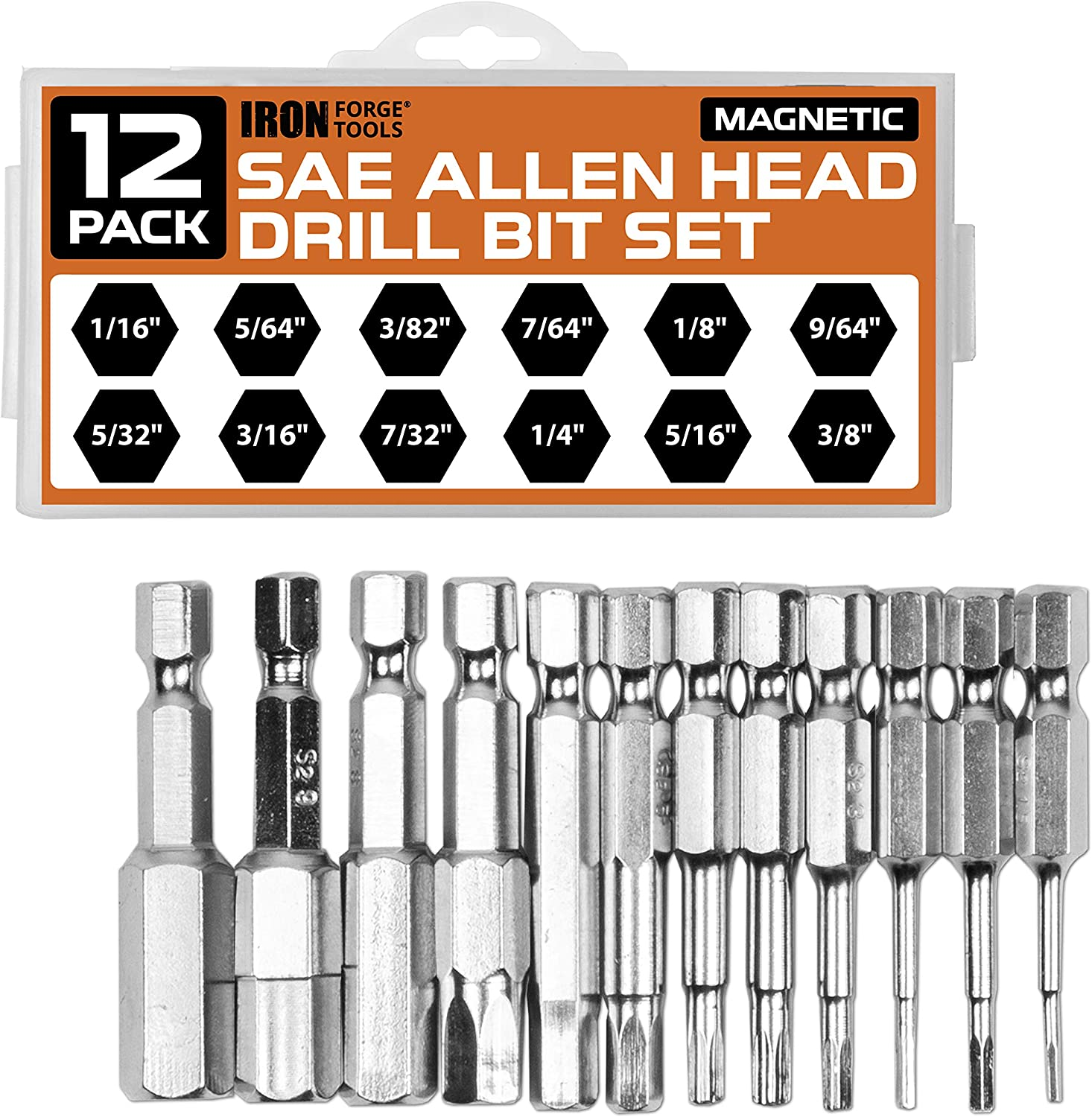 SAE Hex Head Bits with Magnetic Tips Allen Wrench Drill Bit Set of 12