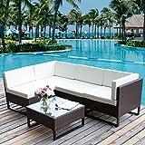 Merax 5 PC Indoor/Outdoor Wicker Sofa Cushioned Seating Sectional Set Garden