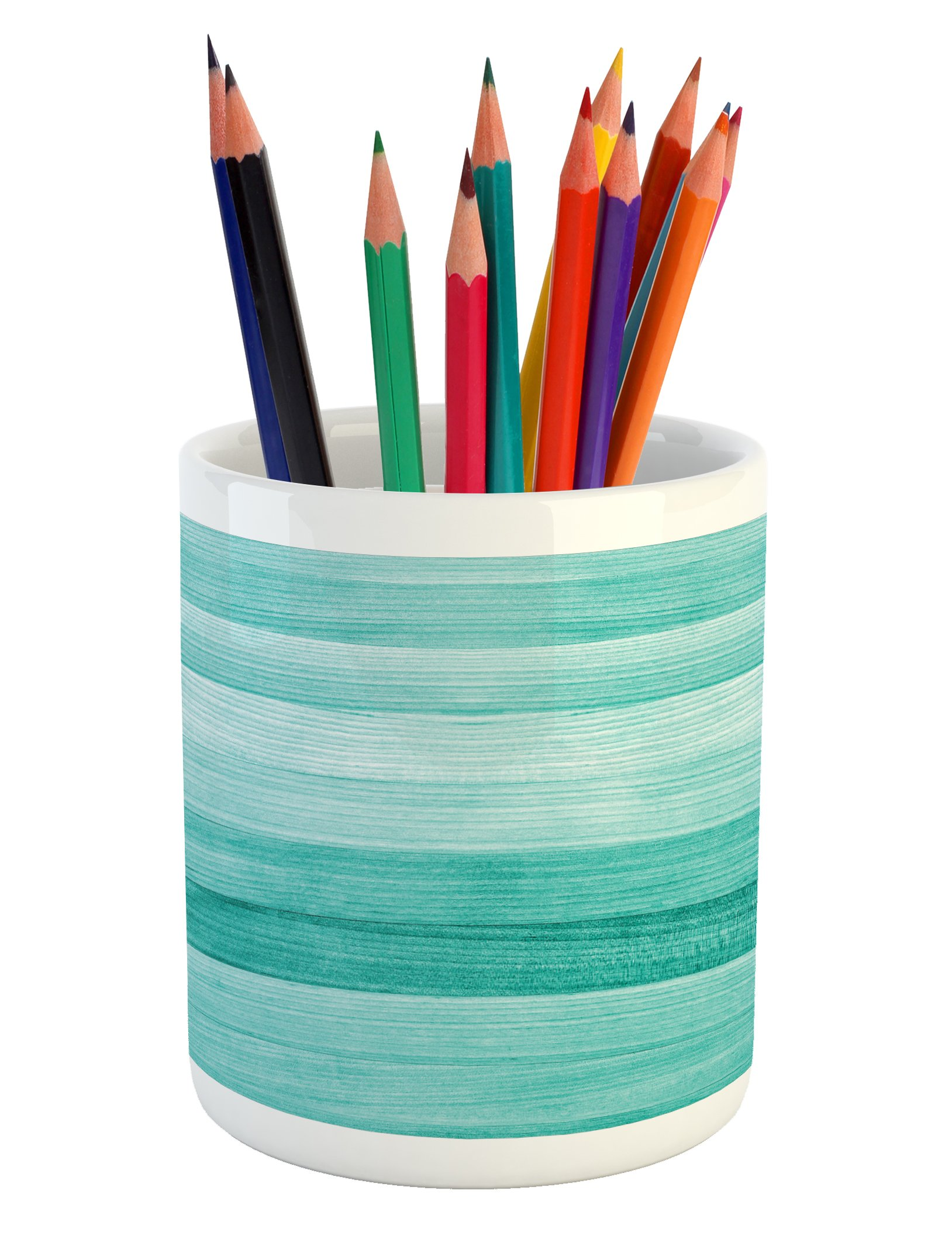 Ambesonne Teal Pencil Pen Holder, Painted Wood Board with Horizontal Lines Birthdays Easter Holiday Print Backdrop Image, Printed Ceramic Pencil Pen Holder for Desk Office Accessory, Turquoise