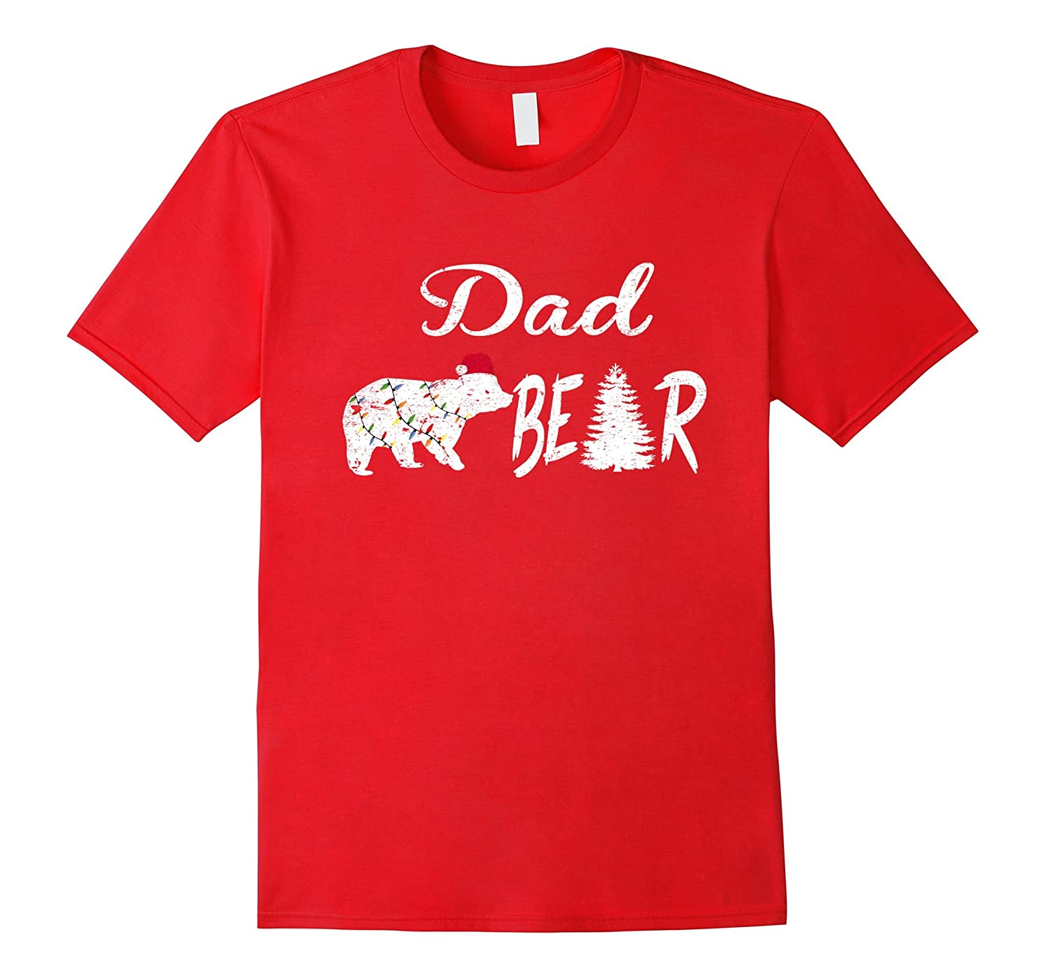 Polar Dad Bear Tree Christmas Hat Light Pajamas Tshirt-T-Shirt