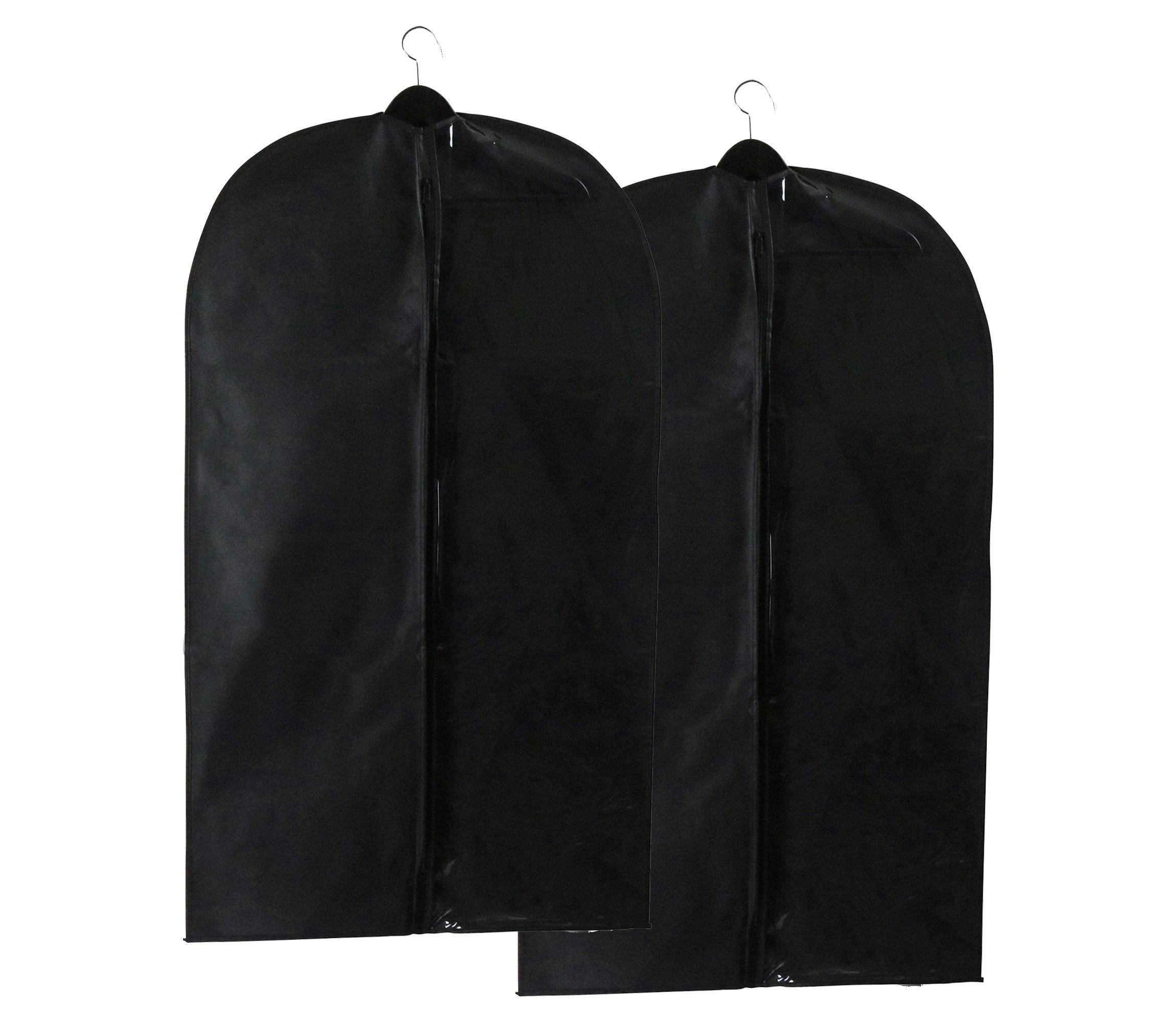 Caskyan 42'' Garment Bags, Breathable Black Non-Woven Fabric + Clear PVC for Dresses, Coats, Suits, Storage or Travel- 2 Pcs by CASKYAN (Image #7)