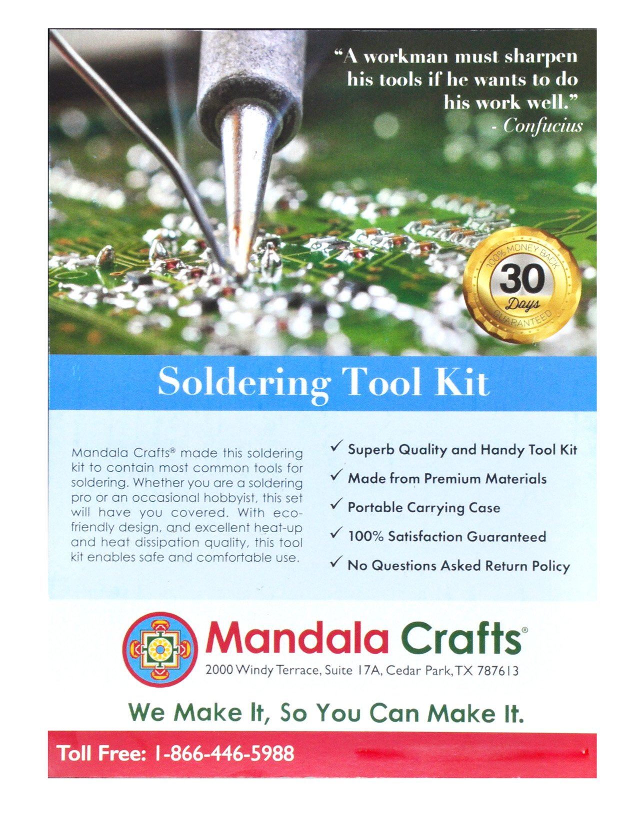 Mandala Crafts 110V 60W Small Soldering Iron Gun Tips Wire Sucker Stand Solder Tool Box Kit (Deluxe) by Mandala Crafts (Image #9)