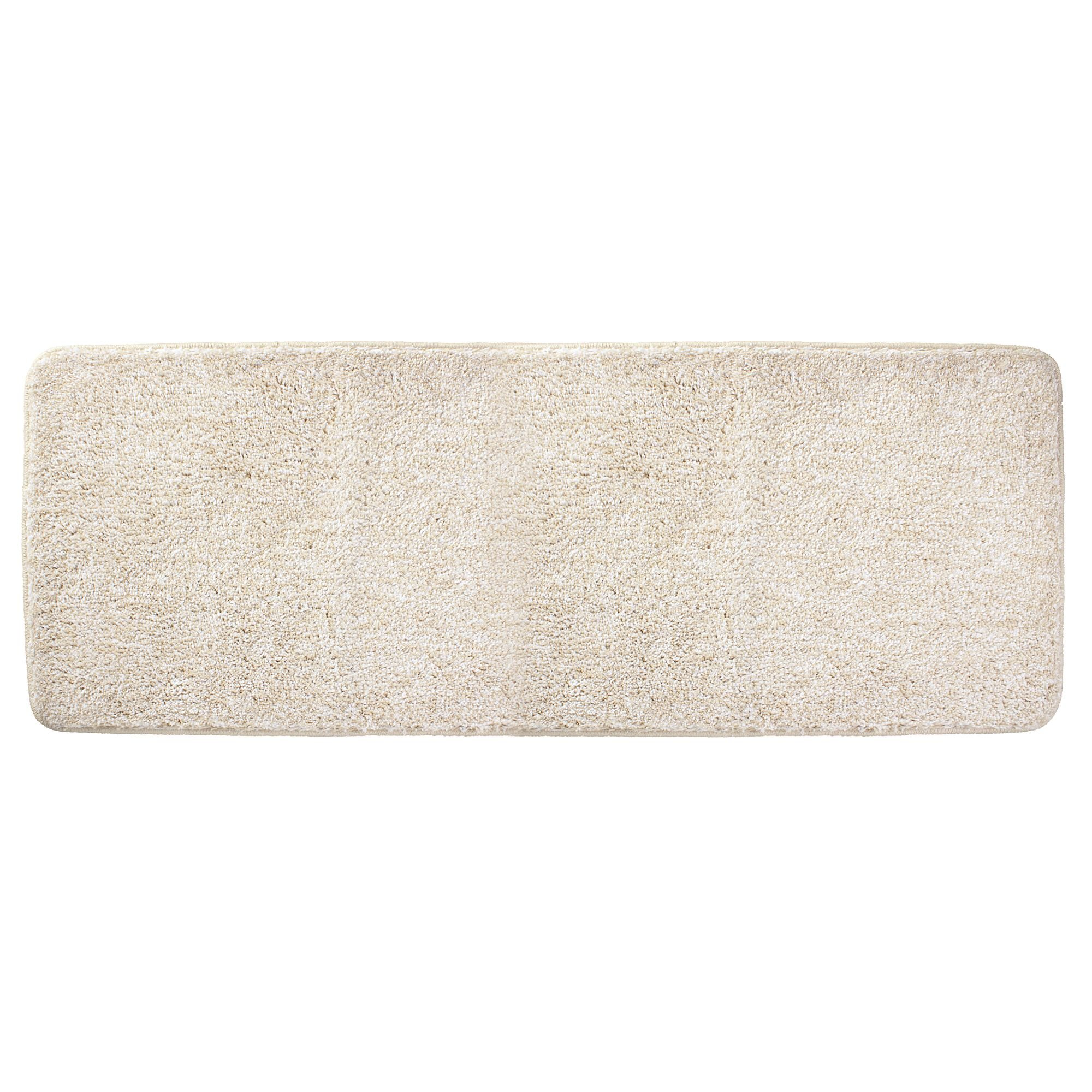 mDesign Soft Microfiber Polyester Non-Slip Extra-Long Spa Mat/Runner, Plush Water Absorbent Accent Rug for Bathroom Vanity, Bathtub/Shower, Machine Washable - 60'' x 21'' - Heathered Linen/Light Tan