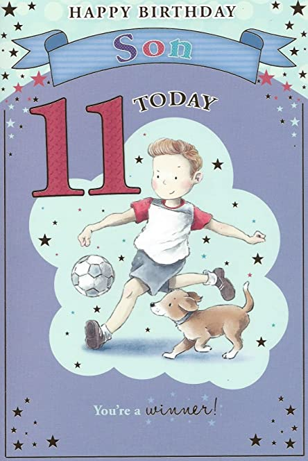 Son 11th Birthday CardBoy Playing Football Beautiful Verse – 11th Birthday Cards