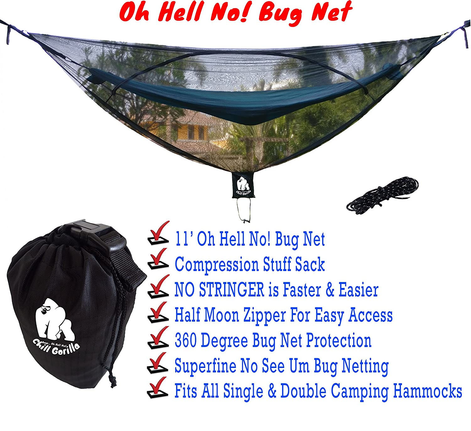 11 u0027 bug   stops mosquitoes no see ums  u0026 repels insects  fits all camping hammocks   pact lightweight  size 132   x 51    essential backpacking jungle     amazon    chill gorilla oh hell no  11 u0027 bug   stops mosquitoes      rh   amazon