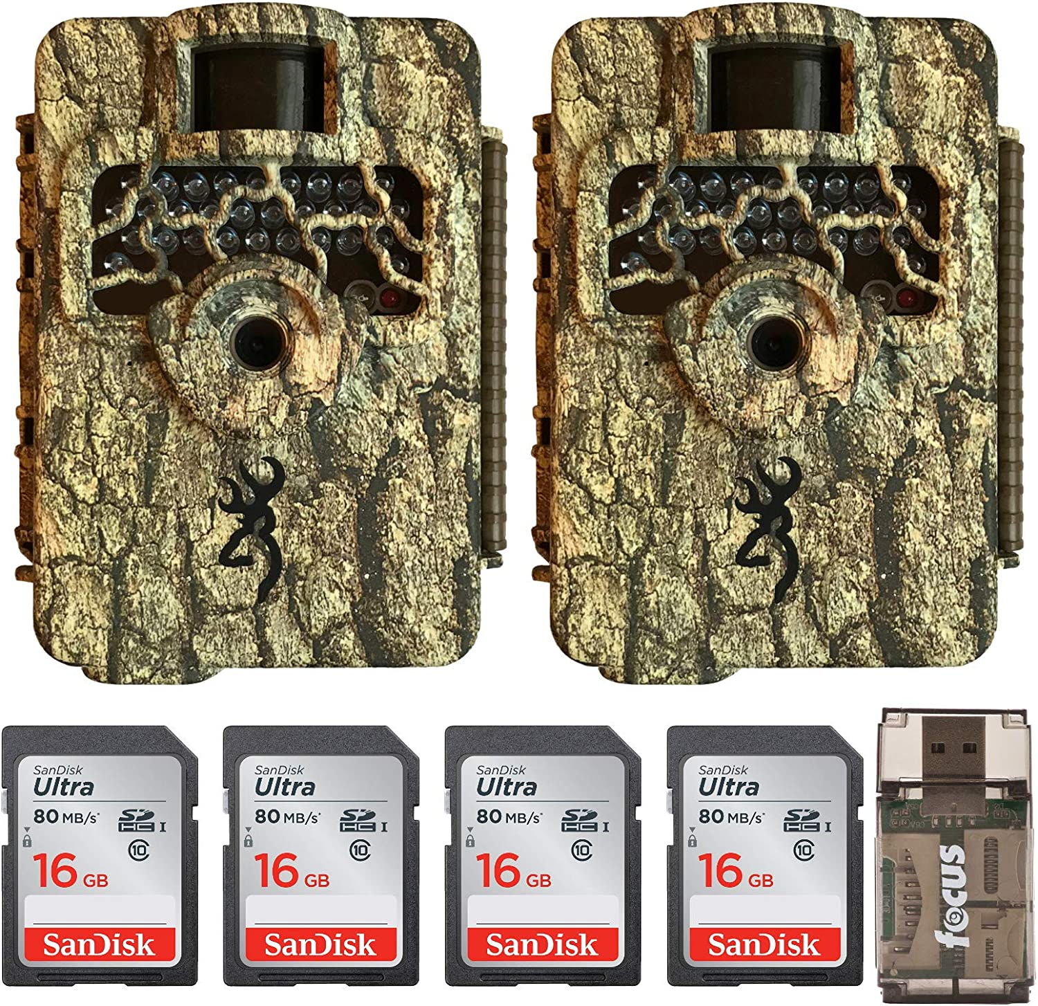 Browning Trail Cameras Command Ops HD 16MP Game Camera 2-Pack Bundled with Four 16GB Memory Cards and Card Reader 7 Items