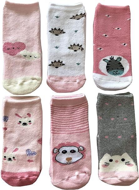 Morbide Calde e Originali Baby Cotton Socks 6 Paia Calze Calzini Bimbo Bambino Antiscivolo in Cotone Colorati