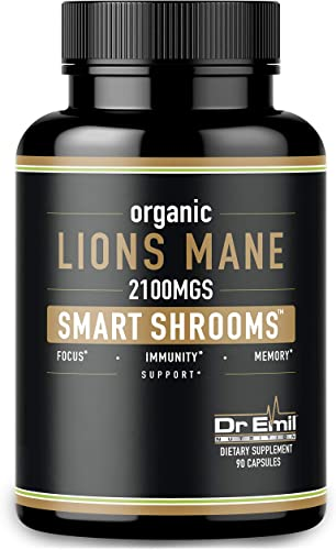 Organic Lions Mane Mushroom Capsules – Maximum Dosage Absorption Enhancer – Nootropic Brain Supplement and Immune Support 100 Pure Lions Mane Extract