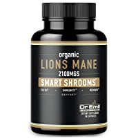 Organic Lions Mane Nootropic Mushroom Capsules - Maximum Dosage + Absorption Enhancer - Brain Supplement and Immune Support (100% Pure Lions Mane Extract)