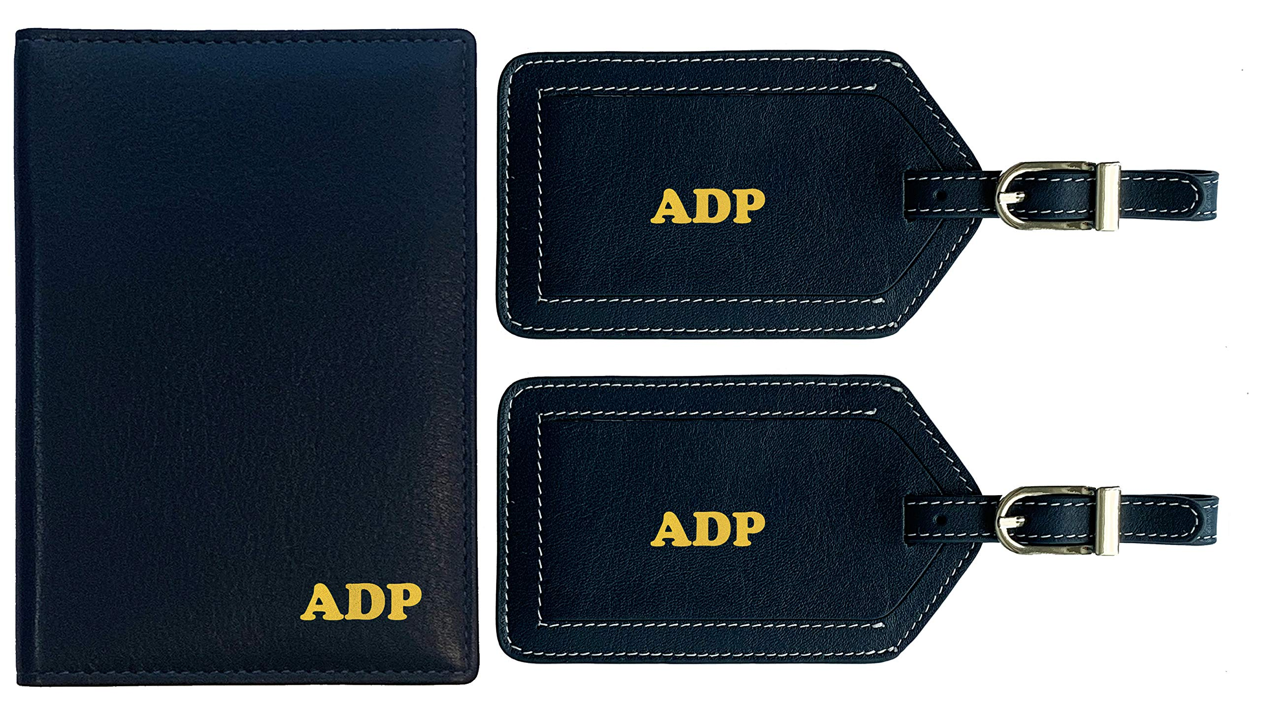 Personalized Monogrammed Navy Leather RFID Passport Wallet and 2 Luggage Tags