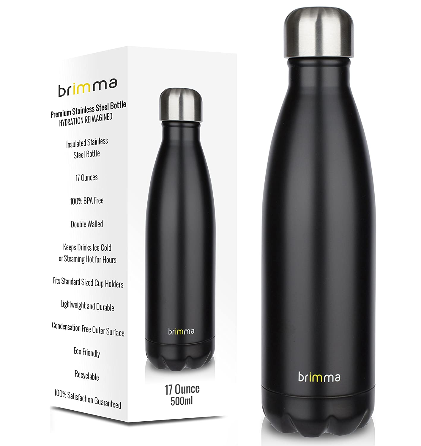 ddfda43eaa0 Amazon.com  Brimma Vacuum Insulated Water Bottle - Double Wall Stainless  Steel Travel Bottle for Hot   Cold Drinks - No Sweat