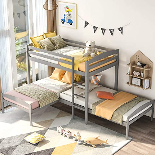 Merax Twin Over Twin Solid Wood Triple Bunk Bed