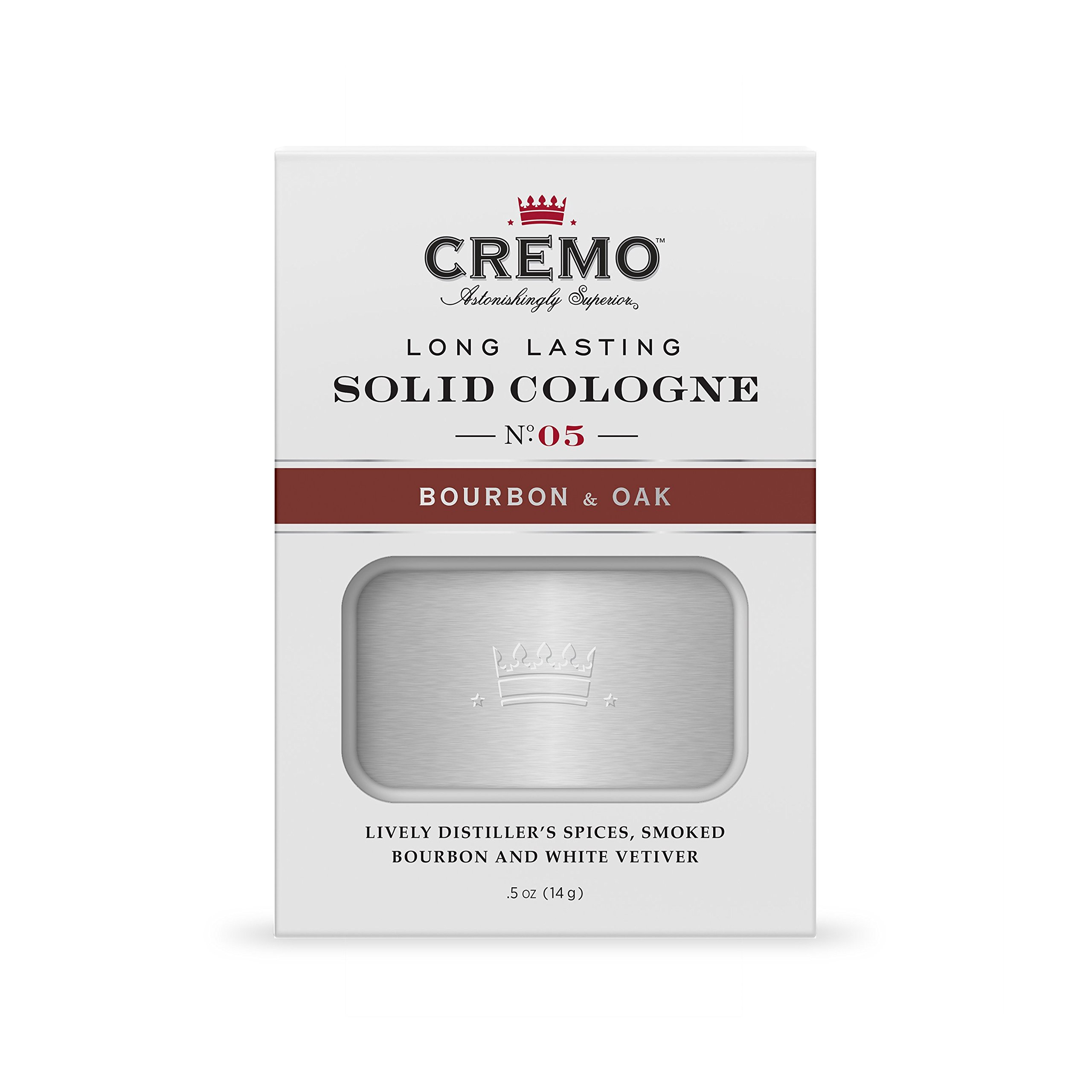 Cremo Solid Cologne That Fits In Your Pocket So You Can Apply Discreetly - Bourbon & Oak.45 Ounce Tin by Cremo