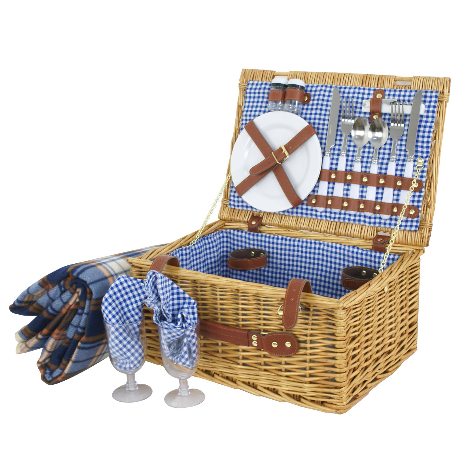 SUPER DEAL Picnic Basket Wicker Hamper Set w/Cutlery, Plates, Glasses, Napkins Stainless Steel Tableware, Blue Checked Pattern Lining & Fleece Blanket (for 2 Person)