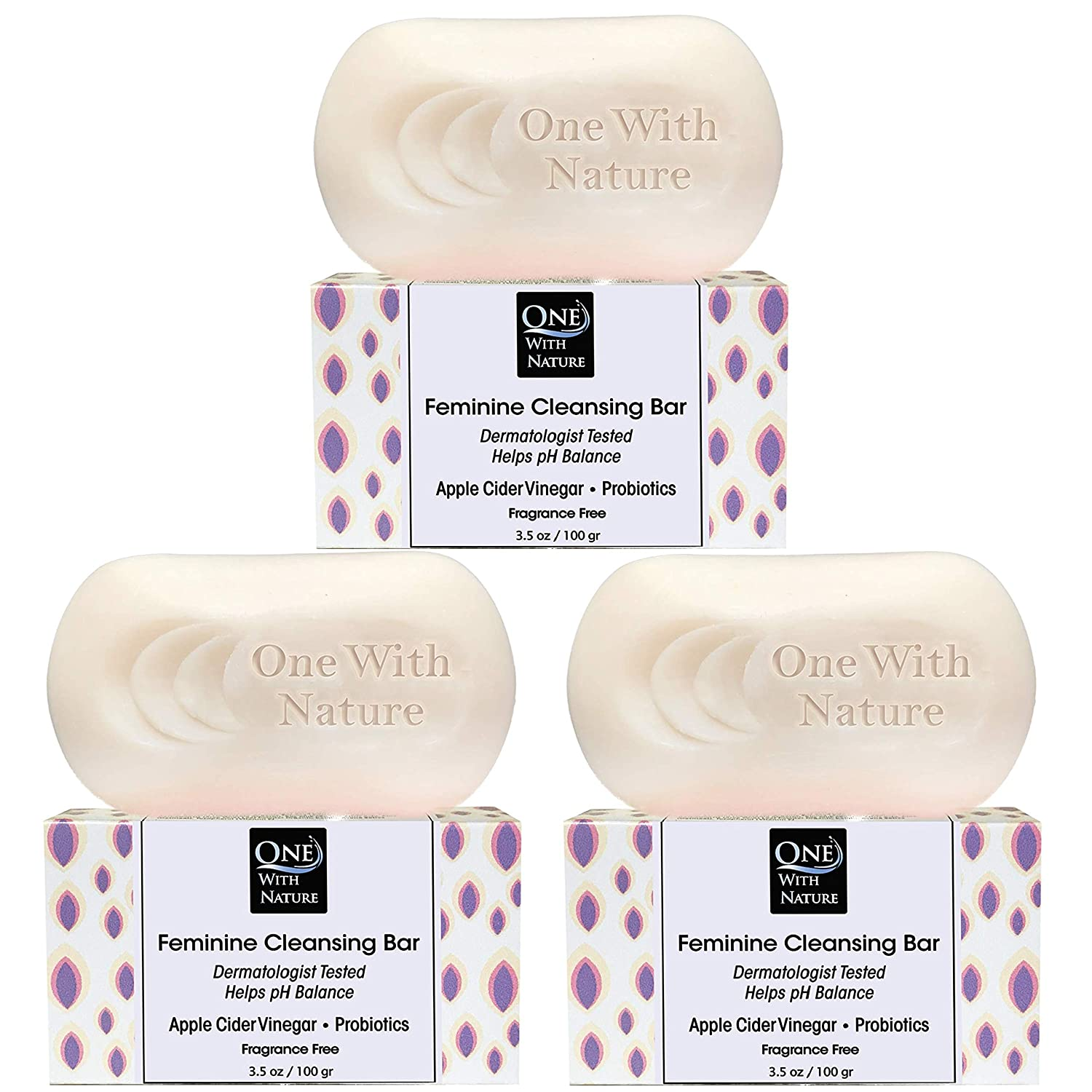 Feminine Cleansing Bar 3 Pack, Fragrance Free, Probiotics, Apple Cider Vinegar, Omega Fatty Acids, Oatmeal, Pure, gentle cleansing bar for sensitive skin, face, body, 3.5 oz (Fragrance Free)