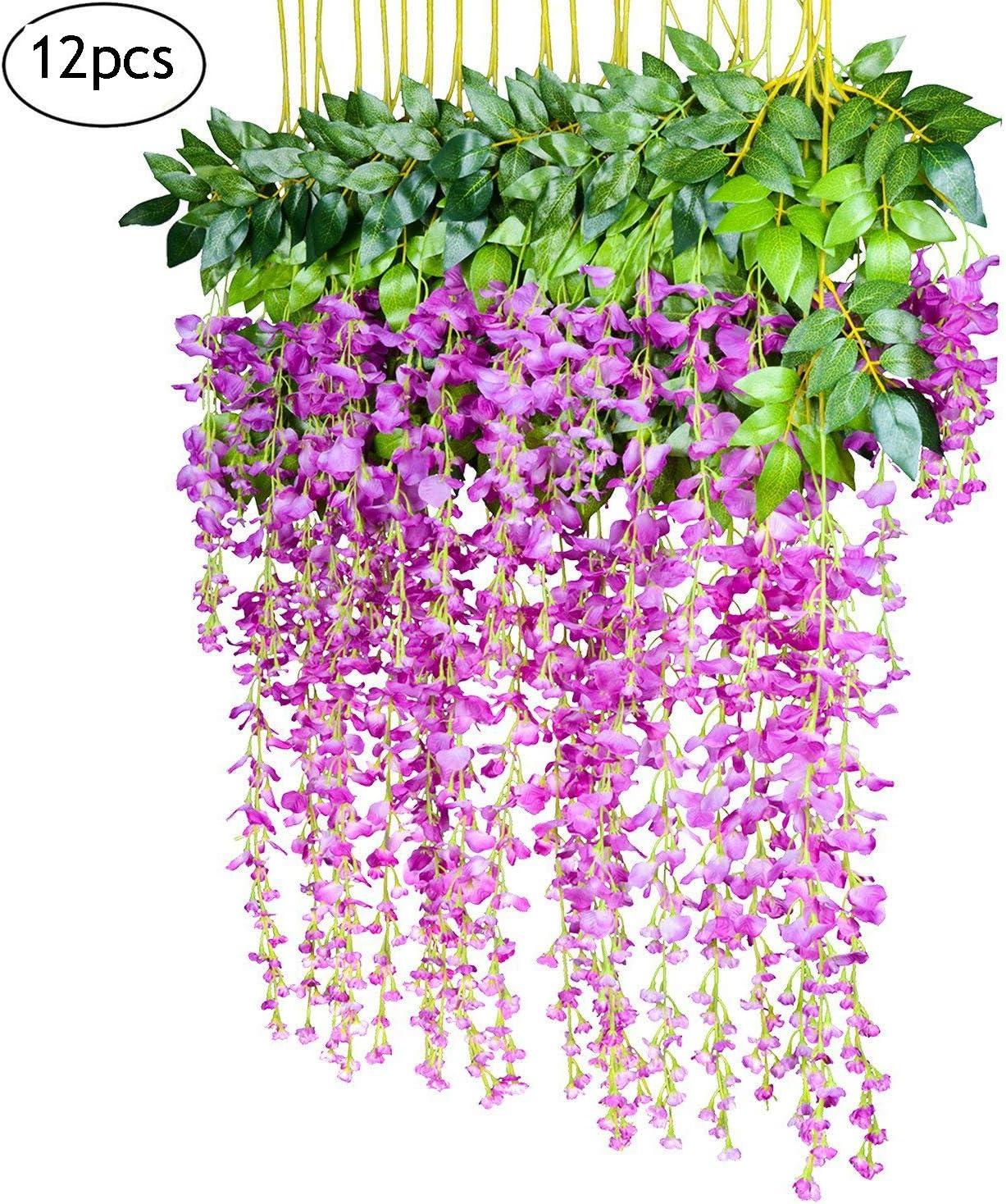 KEISL 12 Piezas de Flores Artificiales, 110 cm, glicinia de Seda para Colgar Flores de ratta para Bodas, Jardines, Flores, Bricolaje, Sala de Estar, Oficina, decoración: Amazon.es: Hogar