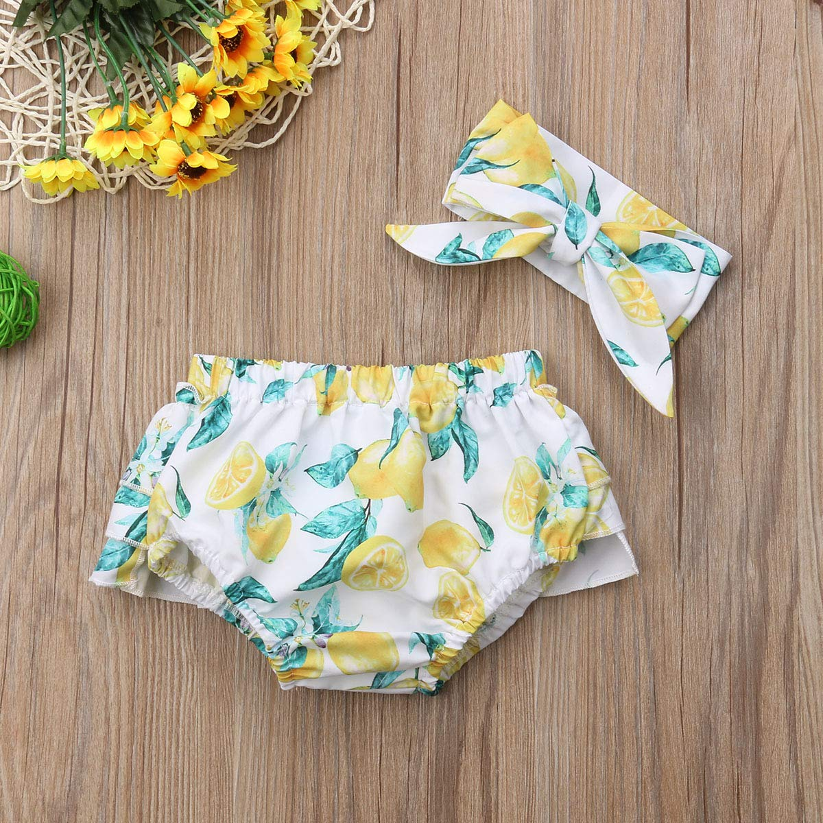 Newborn Baby Girls Photography Prop Floral Ruffle Layers Pleated Skirt Headband Outfits