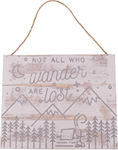 GSM Brands Not All Who Wander are Lost 15.75x13 Wood Plank Design Hanging Sign