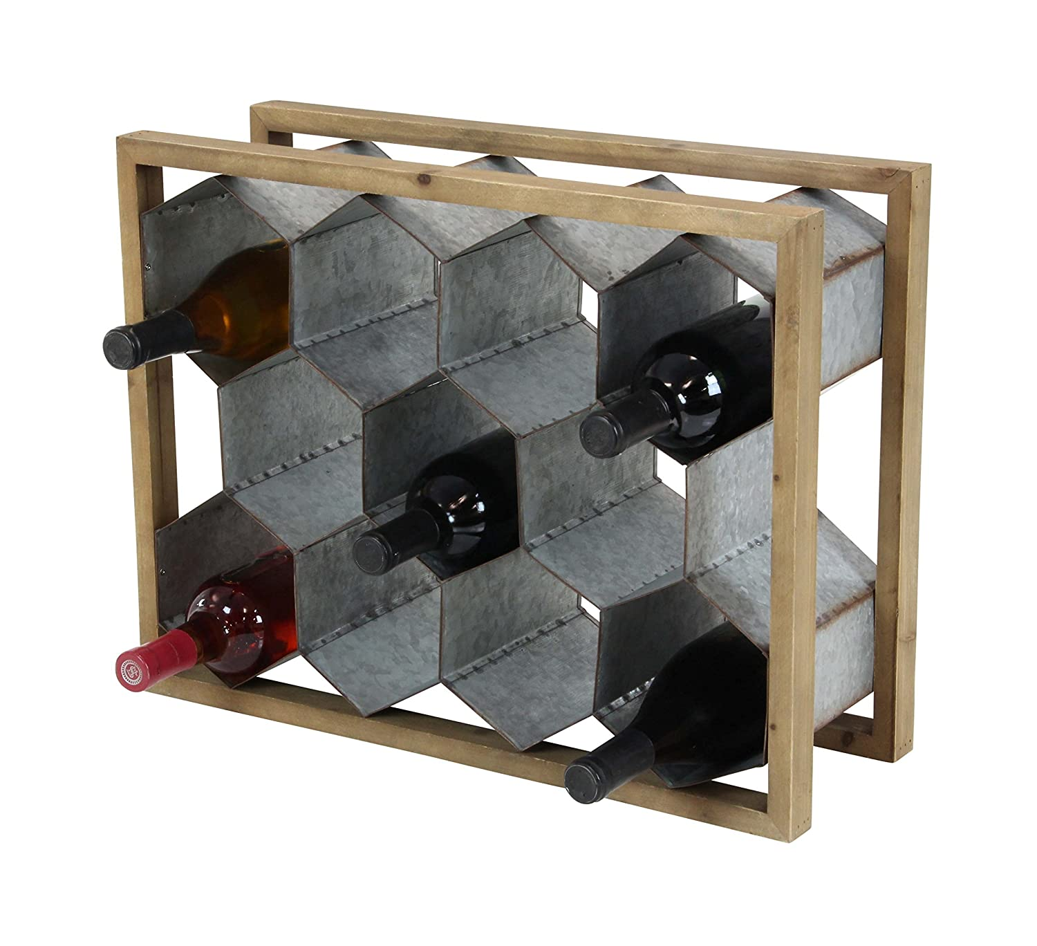 Deco 79 84311 Arrow-Inspired Wood and Metal Wine Holder, 6