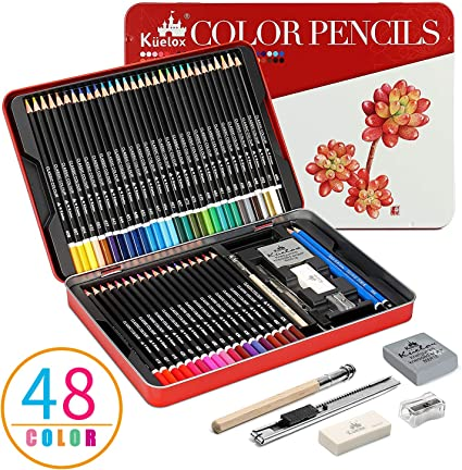 Lapices de Colores Kasimir 48 lapiz colores profesional por color en caja con Lapices extensor sacapuntas y borrador para artista Con funda de dibujos para nios: Amazon.es: Oficina y papelería