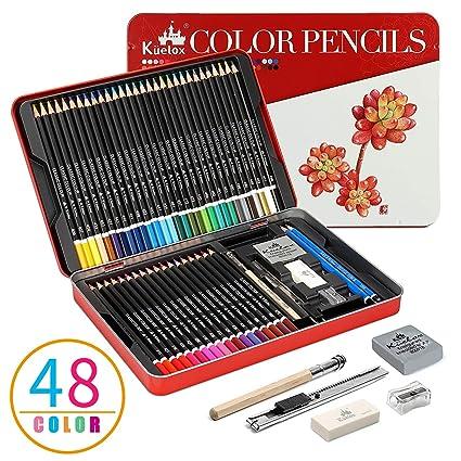 Lapices de Colores Kasimir 48 lapiz colores profesional por color en caja con Lapices extensor sacapuntas y borrador para artista Con funda de dibujos ...