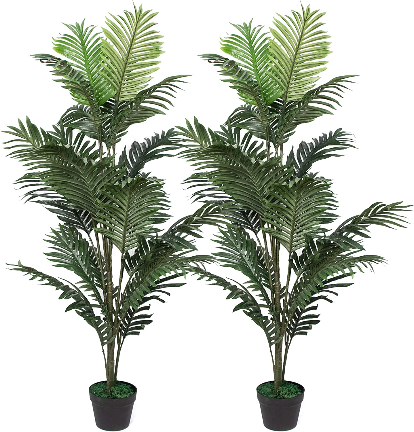 Amazon Com Set Of 2 Artificial Palm Tree In Plastic Pot Potted Fake Greenery Decoration With Bendable Branches For Home Restaurant Cafe Or Office Decorating Kitchen Dining
