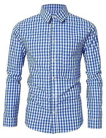 KOJOOIN Hombre Camisa Manga Larga Slim Fit XS - 4XL Camisa de ...