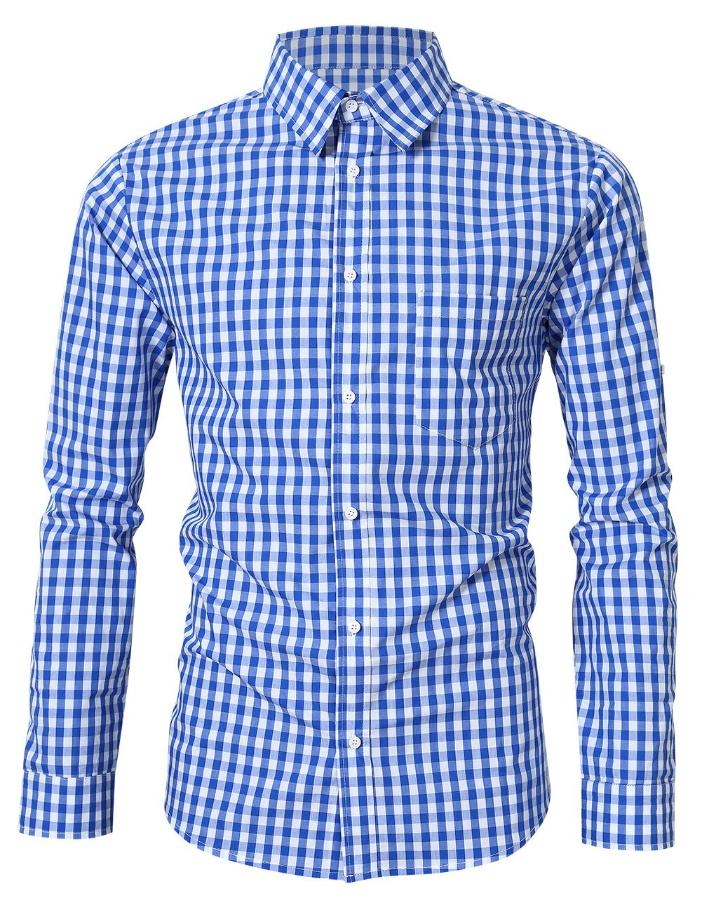 Clearlove Men's Casual Slim Fit Plaid Shirt Button Down Dress Shirts for German Bavarian Oktoberfest Blue L