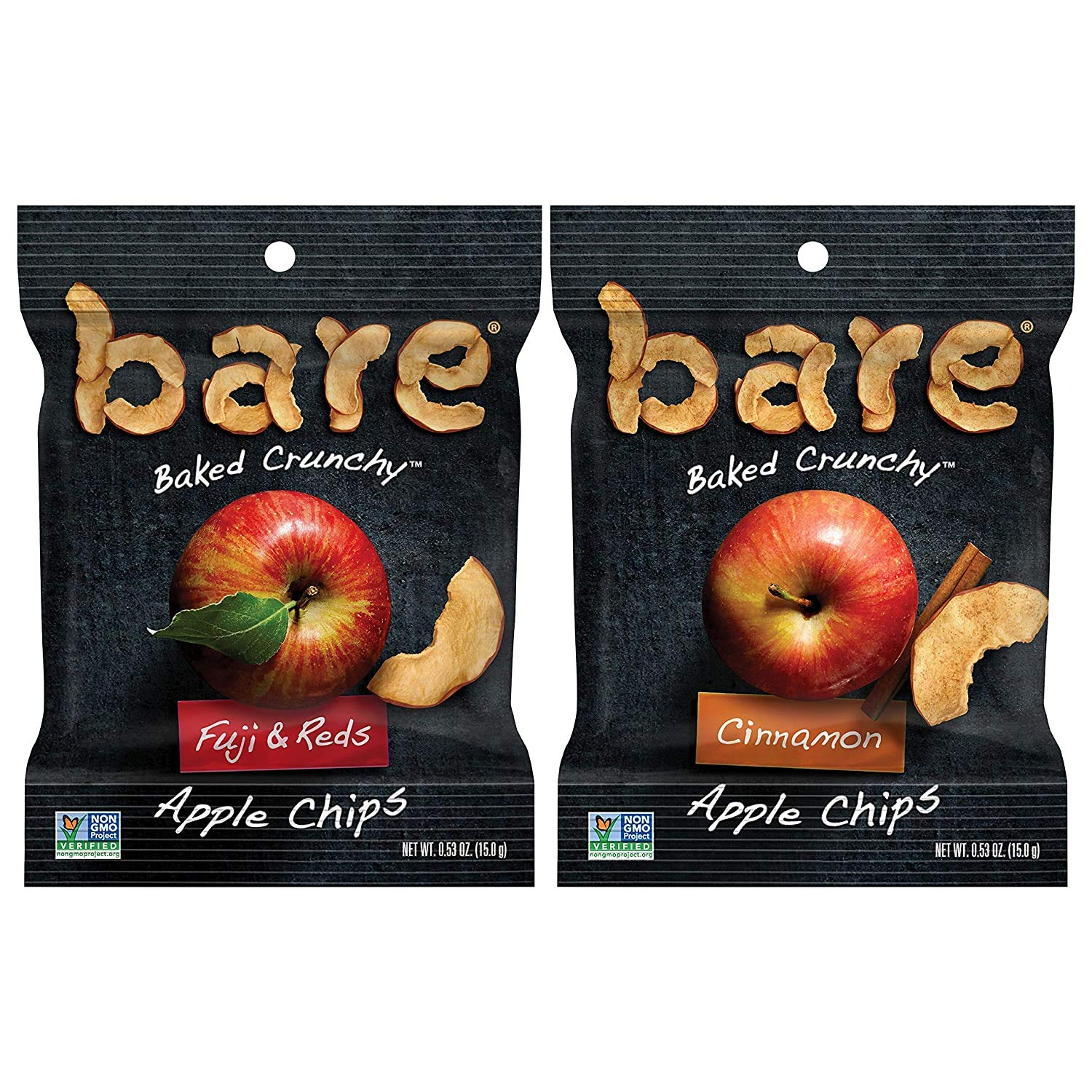 bare Baked Crunchy Apple Chips, 2 Flavor Variety, 0.53oz Snack Bags (7 Pack)