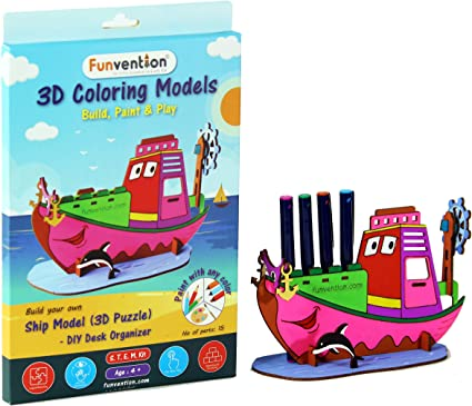 Funvention Ship - 3D Coloring Model - DIY Desk Organizer Pen Stand - STEM Leanring 3D Puzzle Toy - Art, Coloring and Painting Kit for Kids - Birthday Return Gift,3D Mechanical Do IT Yourself Toy