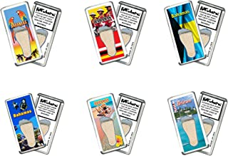 """product image for Bahamas""""FootWhere"""" Souvenir Magnets. 6 Piece Set. Authentic destination souvenir acknowledging where you've set foot. Genuine soil of featured location encased inside foot cavity. Made in USA"""