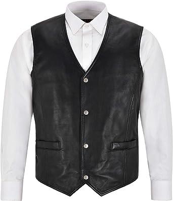 Mens Leather Waistcoat Gilet Formal Classic Black Real Leather Biker Vest 1118