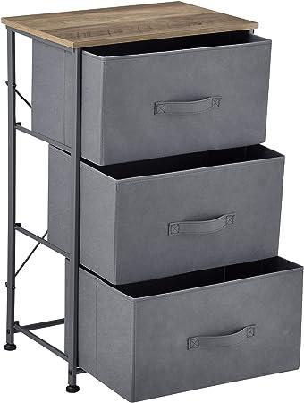 pro.tec] Cómoda con 3 cajones 73 x 45 x 30 cm Cajonera Mestia Armario Metal y MDF Gris y Efecto Madera: Amazon.es: Hogar