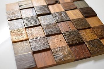 Mosaico de madera paneles para pared vintage look 3d madera maciza