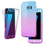 Connect Zone® Ultra Slim 360-degree Protective Shockproof Case Cover for Samsung Galaxy Mobile Handsets - with Front and Back Full Body TPU Silicone Gel (Samsung S8 (SM-950), Blue/Pink Glitter Back Front And Back Gel)