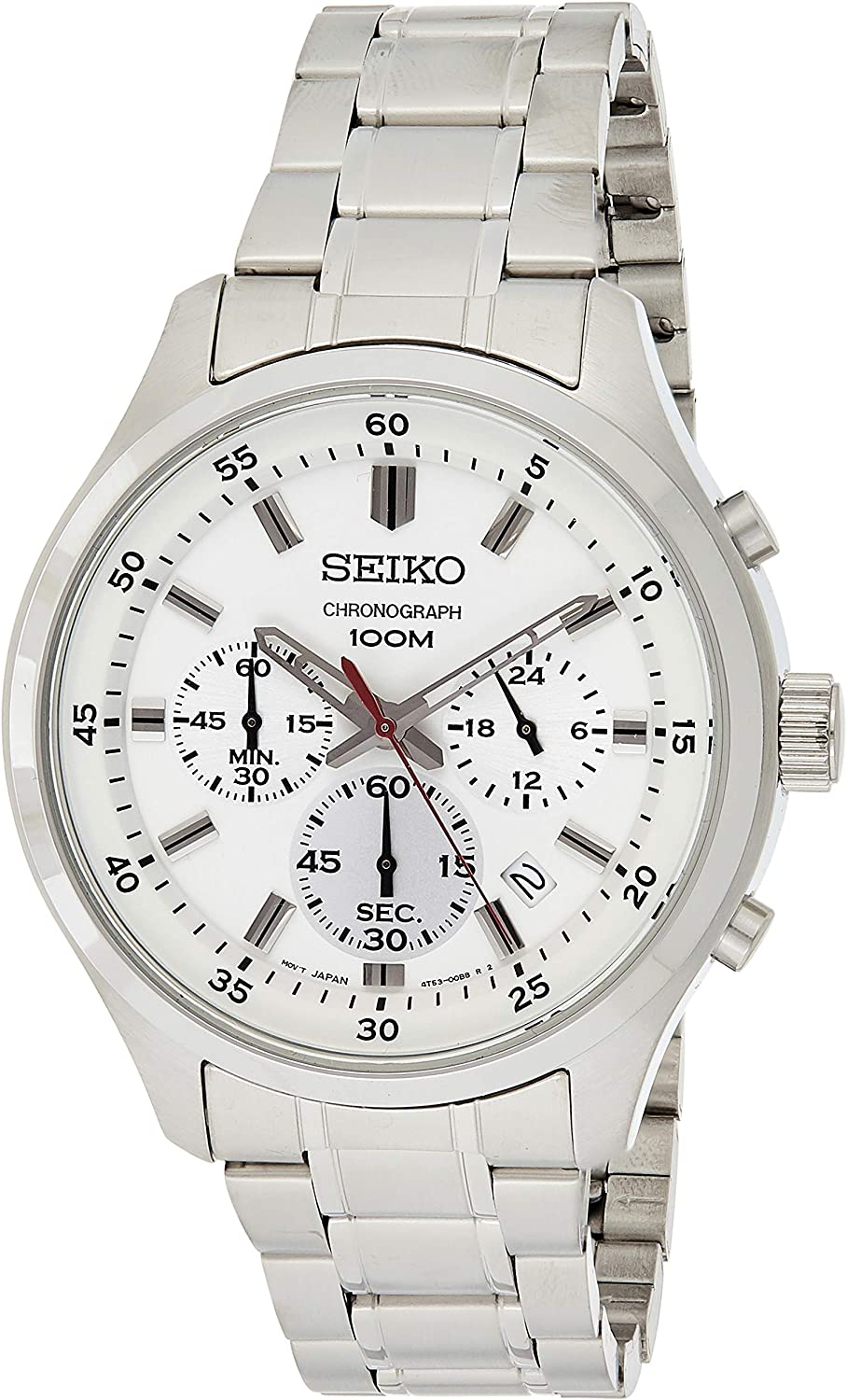 SEIKO- CHRONOGRAPH GENTS WHITE DIAL STAINLESS STEEL BRACELET WATCH
