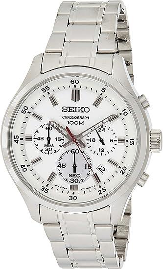 Seiko Herren Armbanduhr 43mm Armband Edelstahl + Gehäuse Batterie SKS583P1