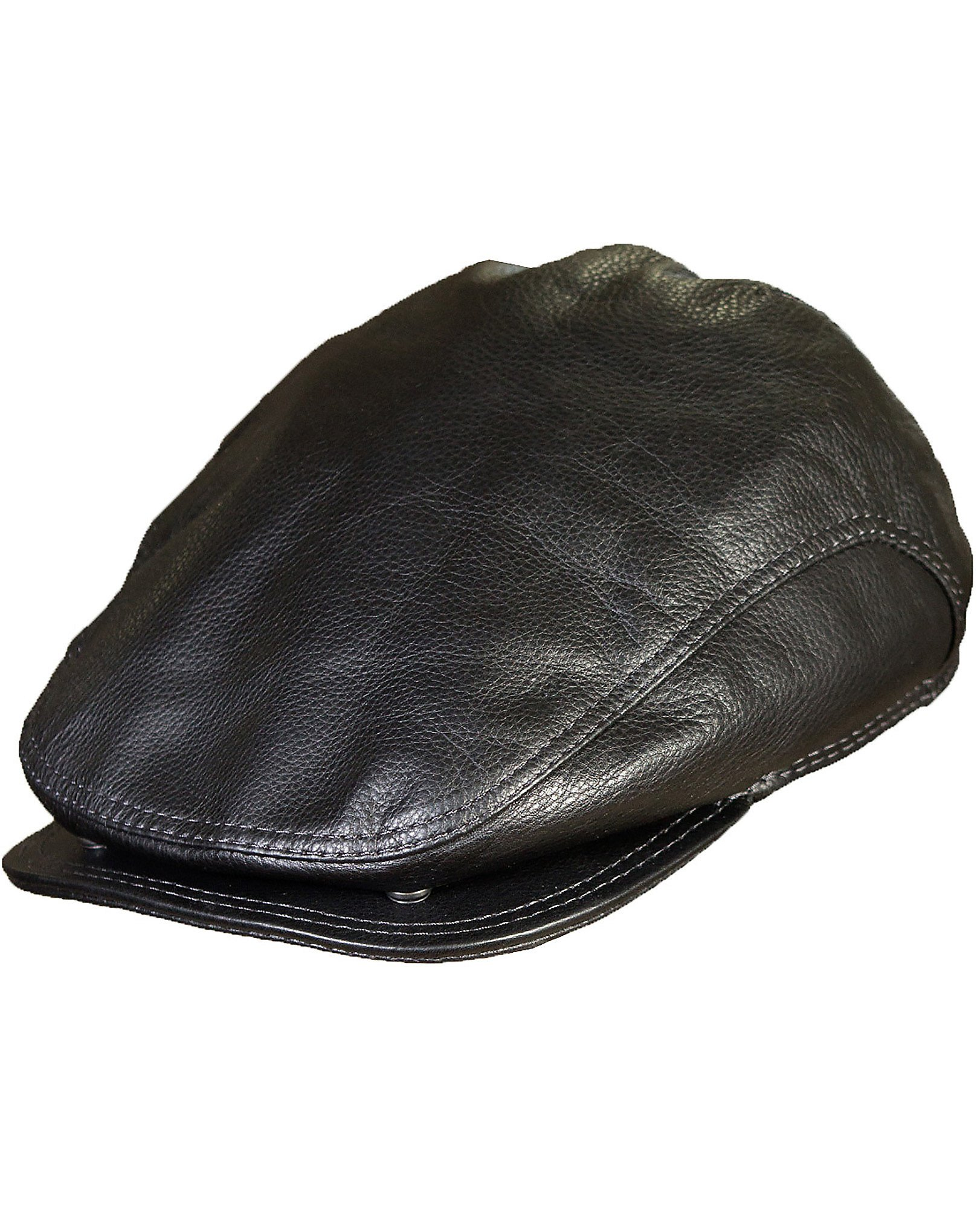 Overland Sheepskin Co. Allen Leather IVY Cap, Black, Size Large (7 1/4-7 3/8)
