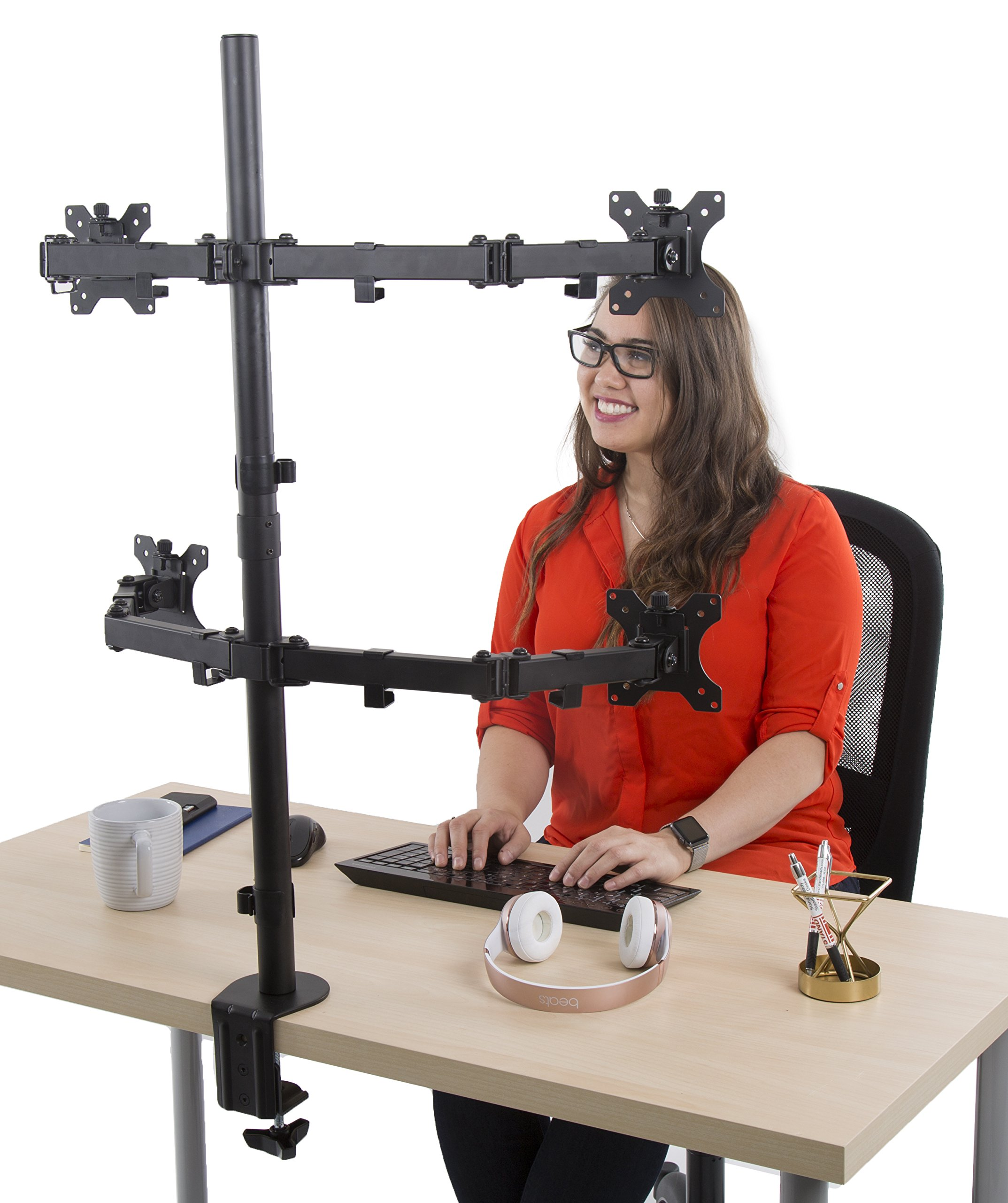 Stand Steady Monitor Arm | Height Adjustable with Full Articulation | VESA Mount Fits Most LCD / LED Monitors 13 - 32 Inches | Includes Clamp and Grommet (4 Monitors) by Stand Steady